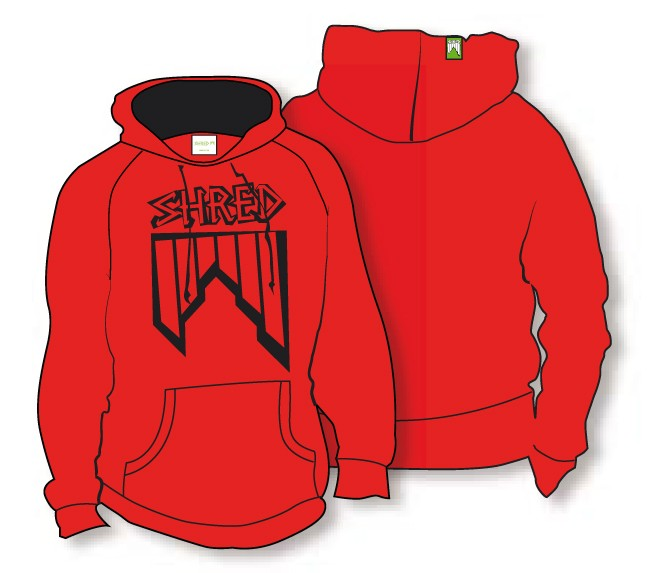 shred_hoodie_crooked logo red black