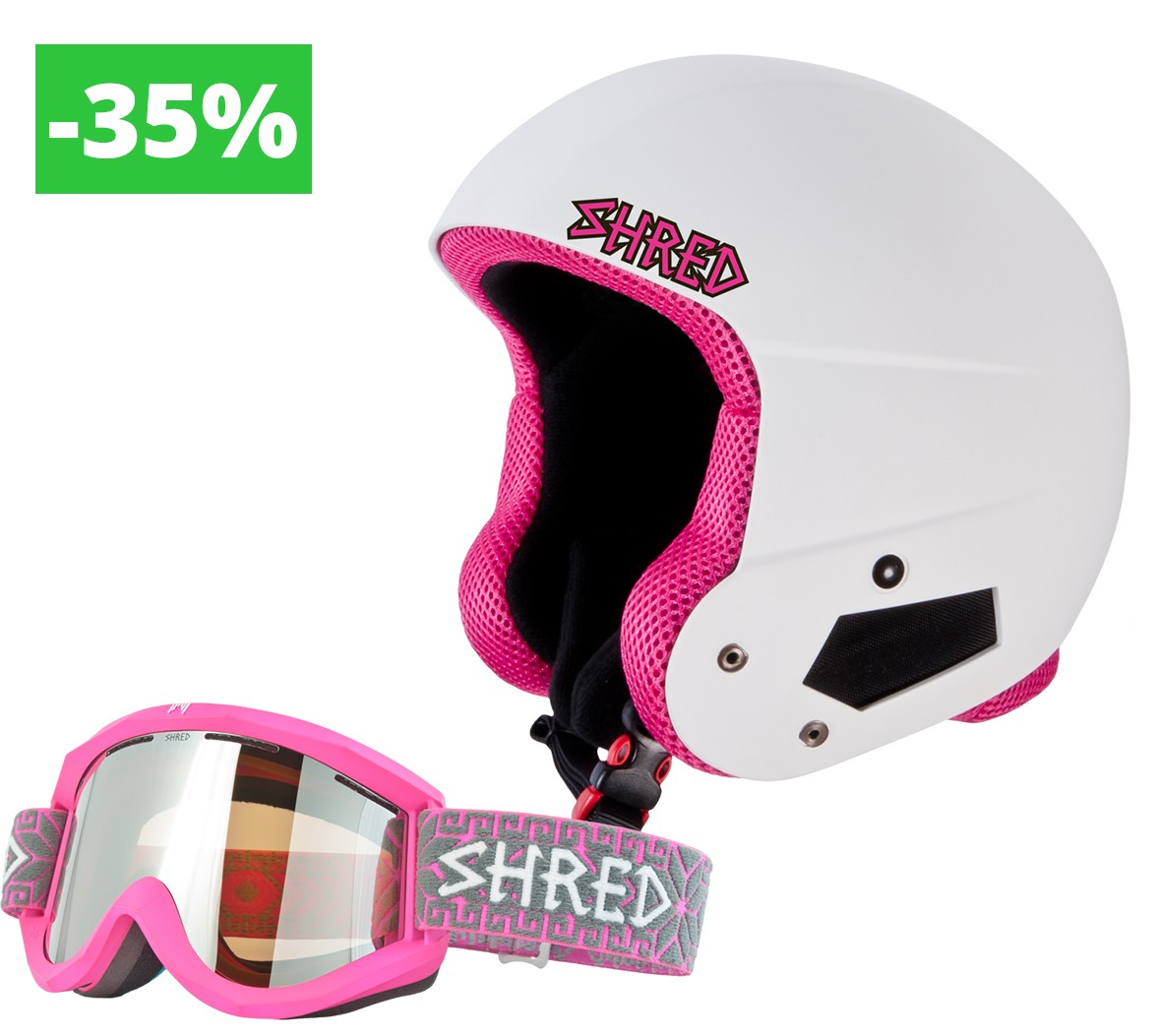 Shred set Brain Bucket Raptor Whitey + Soaza Norfolk Pink