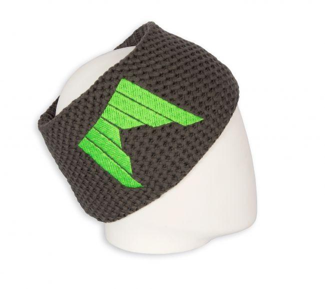 pleteni naglavni trak shred logo sivi