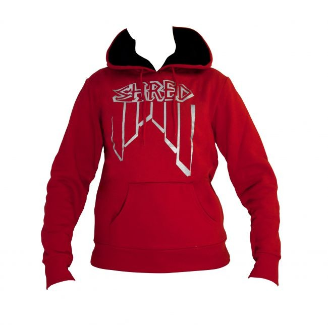 shred crooked logo red hoodie