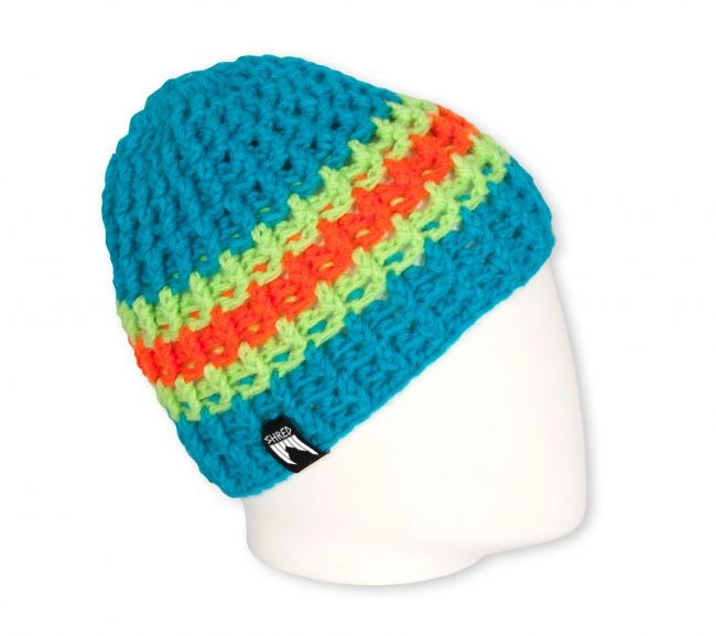 shred hand made beanie stripes blue