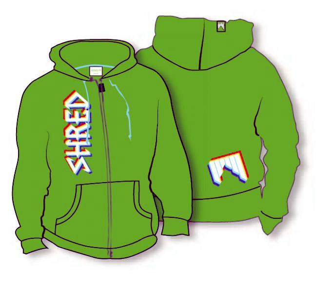 shred_hoodie_threed_logo_green 2