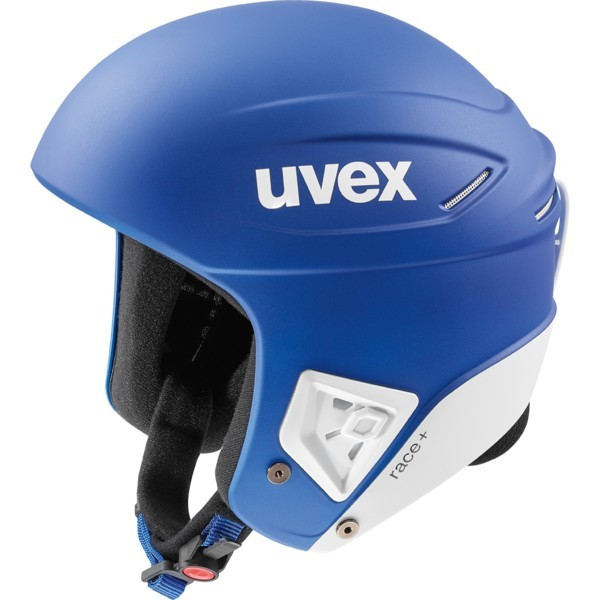 Uvex race + FIS ski helmet, cobalt/white mat, 2018