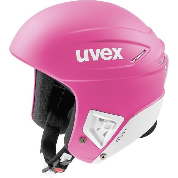 Uvex race + FIS ski helmet, pink/white mat, 2018