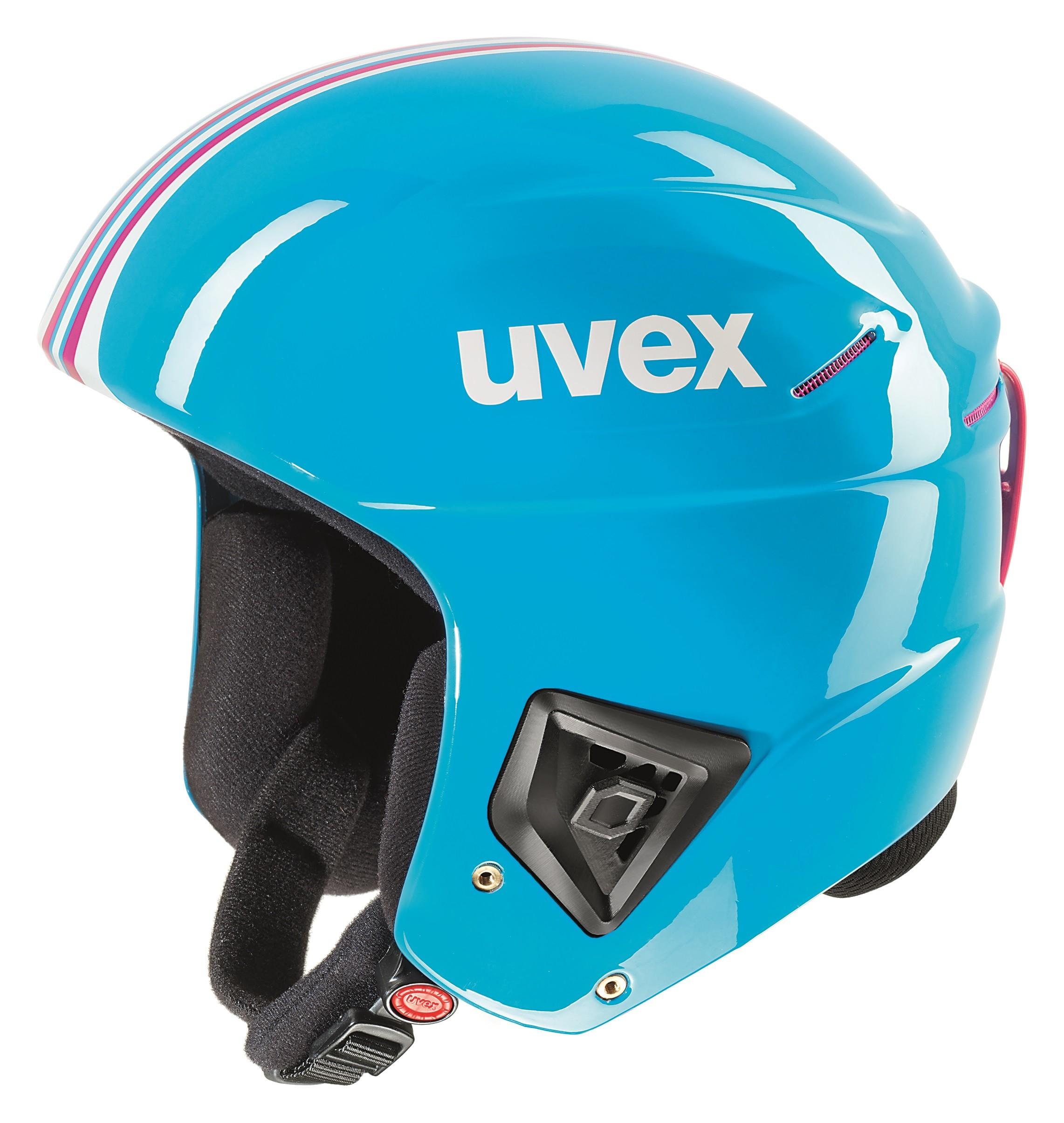 Uvex race + FIS ski helmet, 2017, cyan/pink