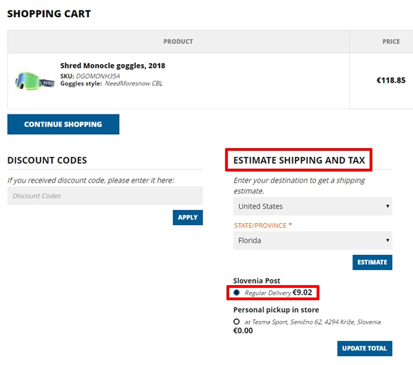 estimate shipping costs